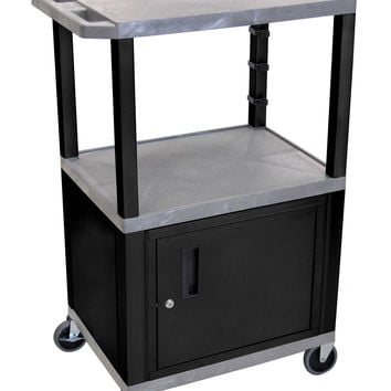 Luxor Movable Multipurpose Storage Utility Cart Black Lockable Cabinet Gray 24w X 18d X 42 1/2 H