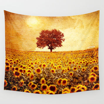 lone tree & sunflowers field Wall Tapestry by Viviana Gonzalez