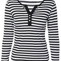 Casual Buttoned Striped  Top