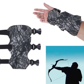 19X9CM Outdoor Hunting Arm Guard Safety Protection Safe Archery Gloves Hunting 3 Strap Shooting Target Archery Faux leather