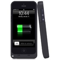 ZuZo Powerbank iPhone 5/ iPhone 5S Rechargeable External Battery Full Protective Case -2200mAh with Apple new 8 Pin Lightning Charging Connectors - AT&T, Sprint, Verizon Black