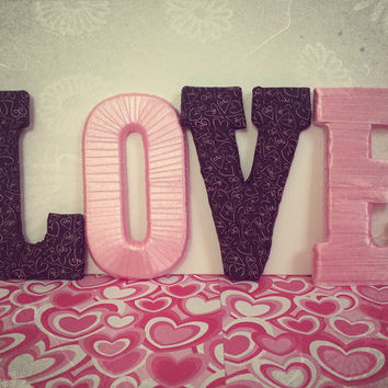 Romantic Custom Decorative Letter Set (pink & black) by Tightly Wound Designs