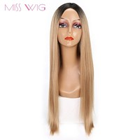 MISS WIG Black Ombre Blonde Brown Hair Long Straight Women Wig Synthetic Wig
