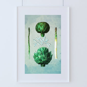 Kitchen Print Kitchen Decor Artichoke & Asparagus Art Rustic Farmhouse Giclee Print on Cotton Canvas and Paper Canvas Poster Home Wall Art