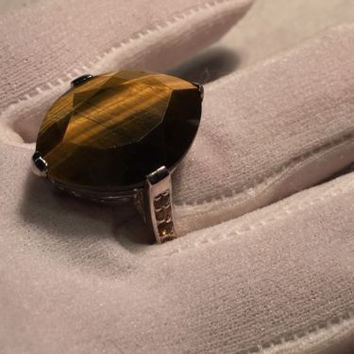 Vintage Genuine Tiger's Eye Real Citrines 925 Sterling Silver Size 9 Ring