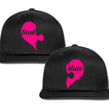 soul mate heart couple matching snapback cap