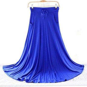 VONG2W 2017 New Spring Autumn Skirts Women Modal Long Skirt Casual Ladies Maxi Skirts Pleated Midi Skirt Women Saia Color Gray Blue Red