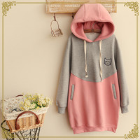 Japanese students hooded fleece pullover
