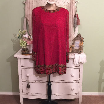 Plus Size XL 2X, Beaded Evening Dress, Red Tunic Dress, Long Sheer Sleeve Dress, High Fashion, Black Tie, Bridal Event, Art Deco Style Dress