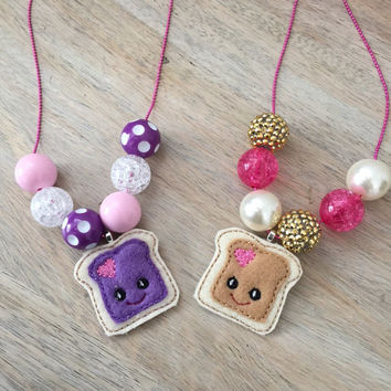 Best Friend Necklaces, BFF Necklace, Peanut Butter and Jelly Necklaces, Besties, Chunky Necklace