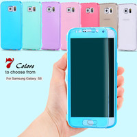 S6 Crystal Clear Transparent Soft TPU Gel Silicon Case For Samsung Galaxy S6 G9200 Shockproof Full Protective Flip Cover Black