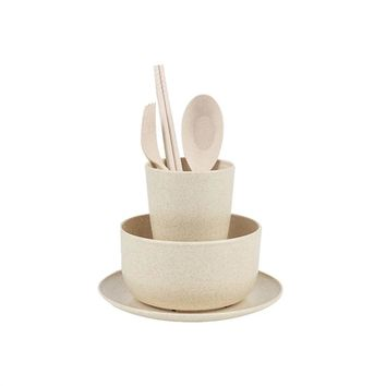 6pcs Environmental Wheat Straw Fiber Biodegradable Kid-friendly Mealtime Dinnerware Food grade Non toxic Tableware Set with Plate Bowl Cup Spoon Fork and Chopsticks (Cream Colour)