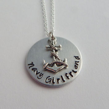 Hand Stamped Navy Girlfriend Necklace / Navy Pride Necklace / Hand Stamped Navy Girlfriend Necklace with Anchor Charm