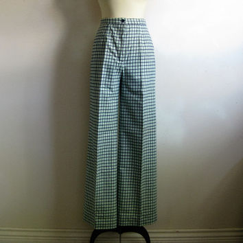 80s Check Bell Bottom Pants Vintage 1980s Navy Green Wool Blend Pants Large
