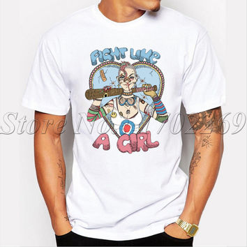 Popular funny cool tee short sleeve casual Men t-shirt Fight Like A Tank Girl cartoon printed retro style basic tops