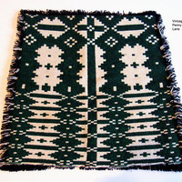 Scandinavian Vintage Wool Pillow Cover, Woven Green Black White Cushion Cover
