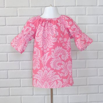 Easter Dress 12 Months Damask Peasant Dress Ready To Ship In Pink Boutique Clothing By Lucky Lizzy's