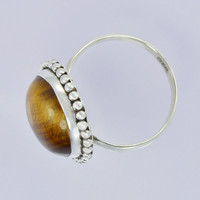 Classic Design Beautiful Tiger Eye Gemstone Silver Ring,Bronze, Jewelry, Gift, Holiday,Handmade jewelry, Free Shipping