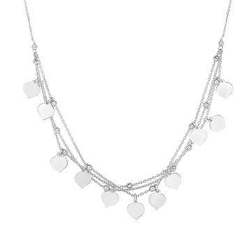 """Sterling Silver Multi Strand Heart Charm Necklace, 18"""""""