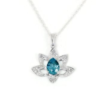 25% Reduced - Sterling Silver Pear Swiss Blue Topaz & Diamond Lotus Flower Pendant Necklace