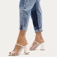 Karla Block Heeled Peeptoe Mules in White and Perspex