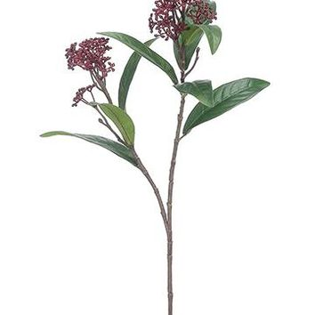 "Artificial Skimmia Flowers in Burgundy - 25"" Tall"