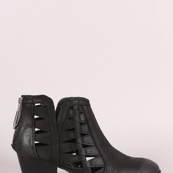 Qupid Distressed Cutout Almond Toe Western Booties