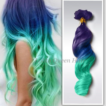 Mint pastel hair extensions, Violet Wigs,Hair Weave, Wide Tracks, Rainbow Hair, Festival Hair , 3 bundles hair weft one set