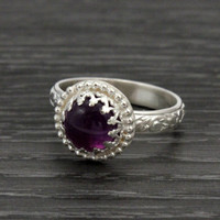 Amethyst sterling silver ring, thick floral pattern band, crown setting, princess ring, vintage style, purple ring, February birthstone