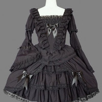 Black Bells Sleeves Multilayer Cotton Gothic Lolita Dress Lolita Clothing costumes cosplay halloween Christmas Alternative Measures - Brides & Bridesmaids - Wedding, Bridal, Prom, Formal Gown
