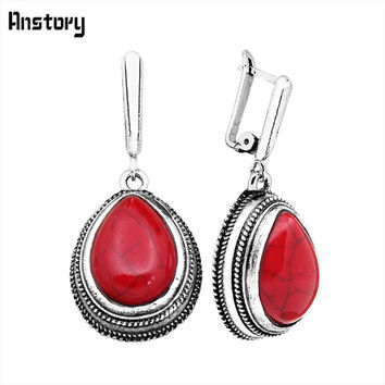 Vintage Drop Red Stone Earrings For Women Antique Silver Plated Retro Craft Fashion Jewelry TE109