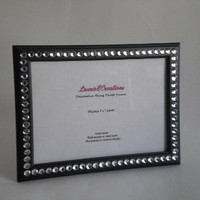 BLACK & BLING 5 x 7 Picture Frame -black w/ clear rhinestones