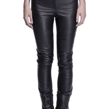 Leather & Wool Skinny Jeans
