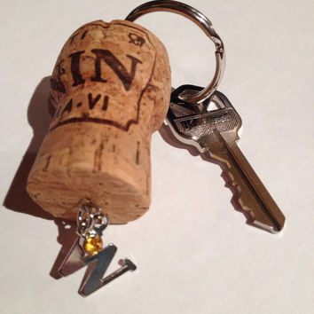 Champagne Cork Keychain Letter W Initial with Yellow Charm