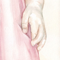 Original watercolor painting Little girl crossing fingers art