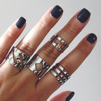 Geometric rings polished mirror finish / cuff ring set / modern jewelry / midi knuckle ring statement rings boho chic ring silver tube ring