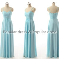 Mint Prom Dress/Bridesmaid dress,Prom Dress/Sleeveless zipper Back Chiffon long Bridesmaid Dress long Crystal Prom Dress/A084