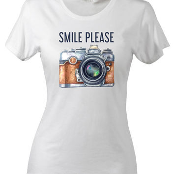 Smile Please Girl Tee Life Quote Happy Tshirt Funny Travel Holidays Camera Love for Photography