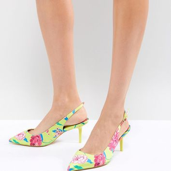 ALDO Kitten Heel Sling Back Shoe in Bright Yellow Floral at asos.com