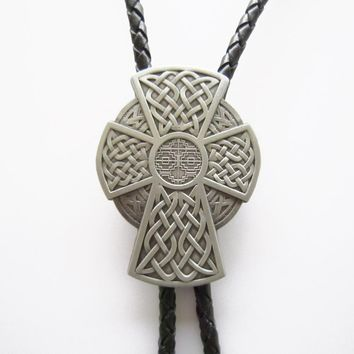 Vintage Celtic Iron Cross Bolo Tie Wedding Leather Necklace