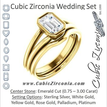 CZ Wedding Set, featuring The Shae engagement ring (Customizable Emerald Cut Split-Band Solitaire)