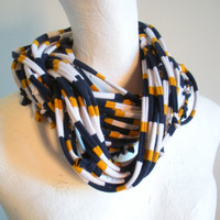 Navy Blue Gold White Infinity Scarf  Cowl Scarf Team Colors School Colors Upcycled Clothing Spring Fashion