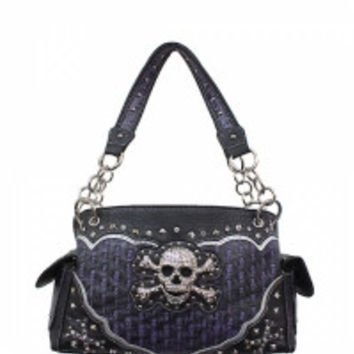 Skull & Crossbones With Rhinestones Handbag