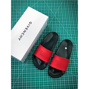 Givenchy Paris Logo Black Red Sandals