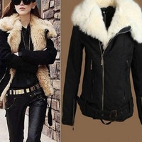 2014 Women Winter Coat New Warm Lush Fur Winter Coat Black Outerwear Jacket Parka = 1930391684