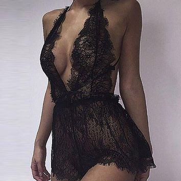Sexy Bodysuit 2017 Rompers Womens Lace Crochet Playsuits Ladies Deep V Neck Back Hollow Out Transparent Black Jumpsuit