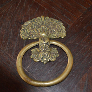 Antique Large French Ring Drawer Pull Bronze Hardware