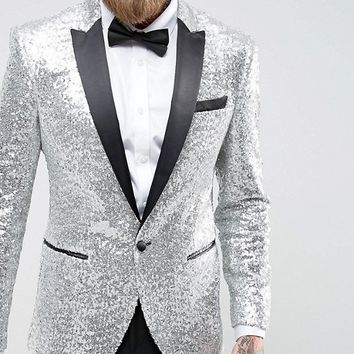 ASOS Skinny All Over Sequin Blazer at asos.com