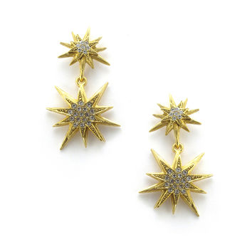 Bianca Earrings, Golden Crystal