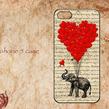 Personalized Iphone 5 case,iphone 5 hard case,Lovely elephant and Red heart Balloon case,on Vintage Dictionary page